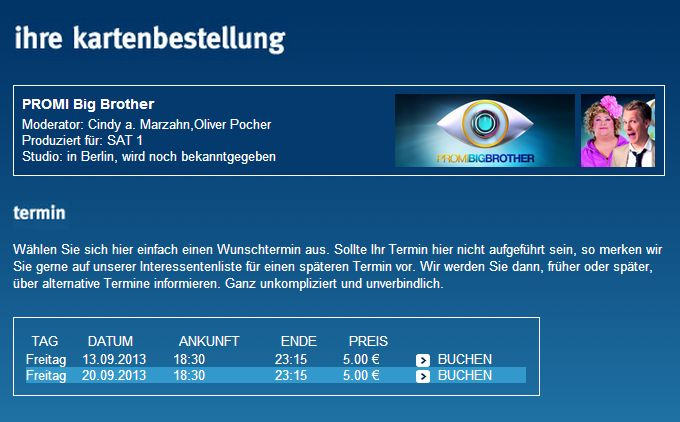 Promi Big Brother: Kartenbestellungen