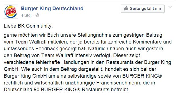 Burger King - Statement