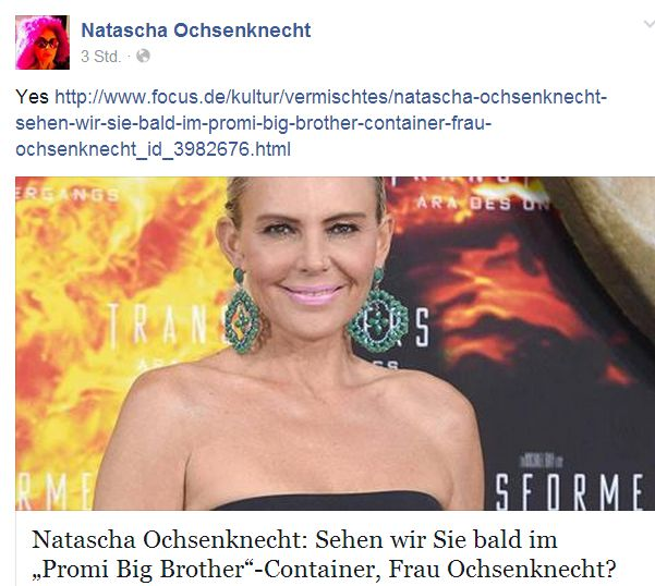 Promi Big Brother 2014: Natascha Ochsenknecht