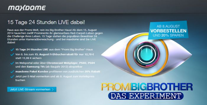 Promi Big Brother 2014 - maxdone Livestream