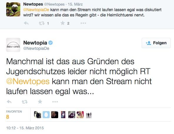 Newtopia Twitter Sat.1 Jugendschutz