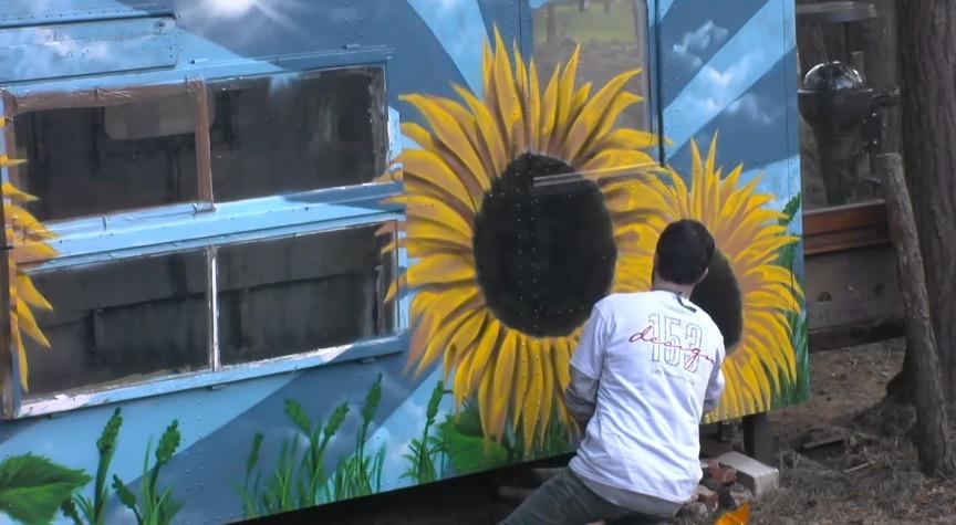 Newtopia Kreativ Tag Sonnenblume Bauwagen Candy Flower Power