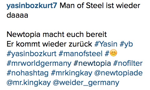 Yasin Newtopia Rueckkehr Instagram
