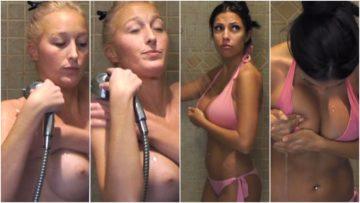 Katrina duscht oben ohne Midi Bikini sexy Love Island 2017